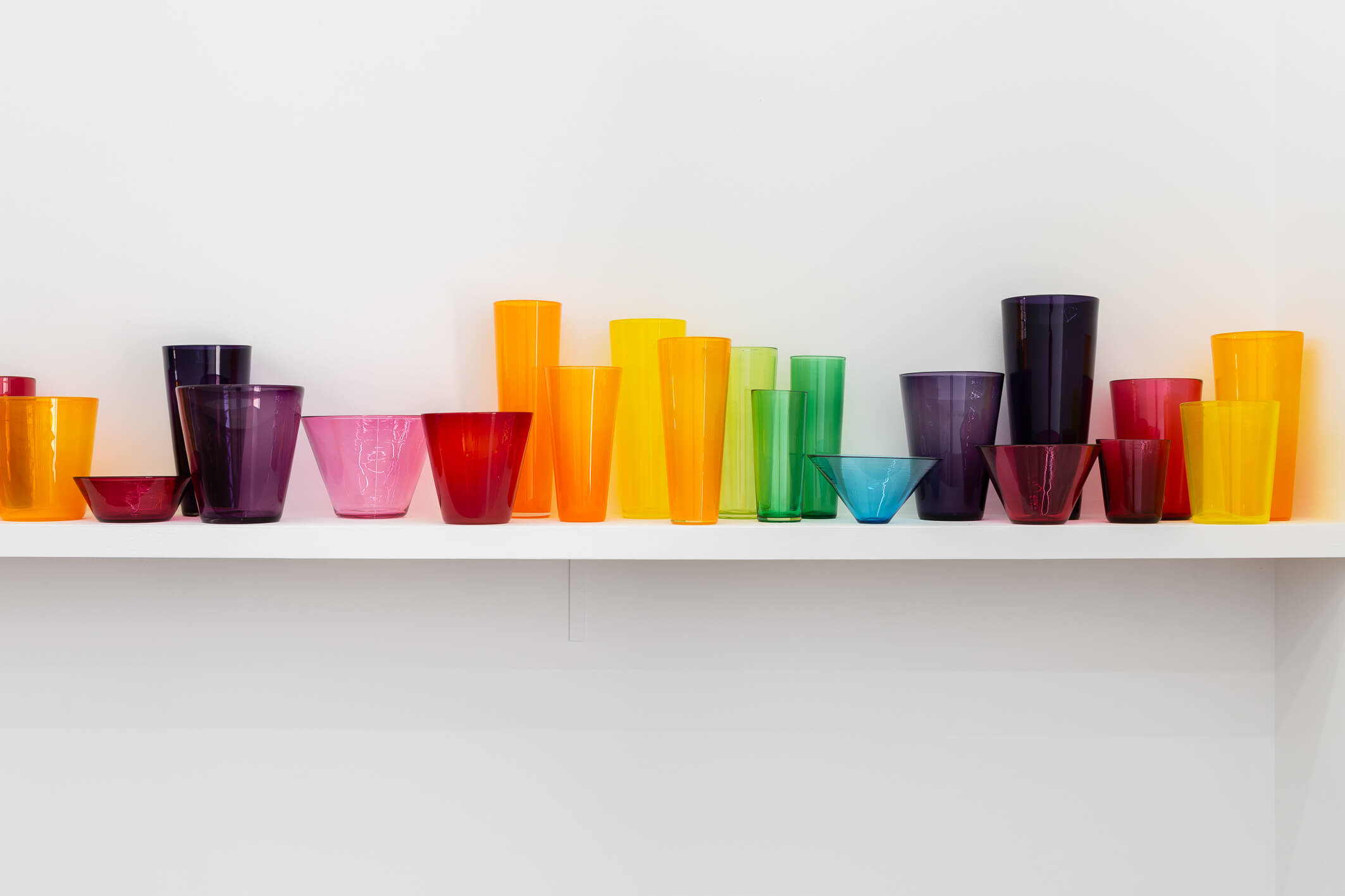 Title: Fugue | Date Made: 2008-2018 | Dimensions:variable | Medium:blown glass vessels, customised shelf | Photographer: Christo Crocker